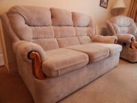 3 Seater and two single chairs and foot stall sofa.