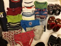 Bundle of baby clothes t shirts shoes trousers