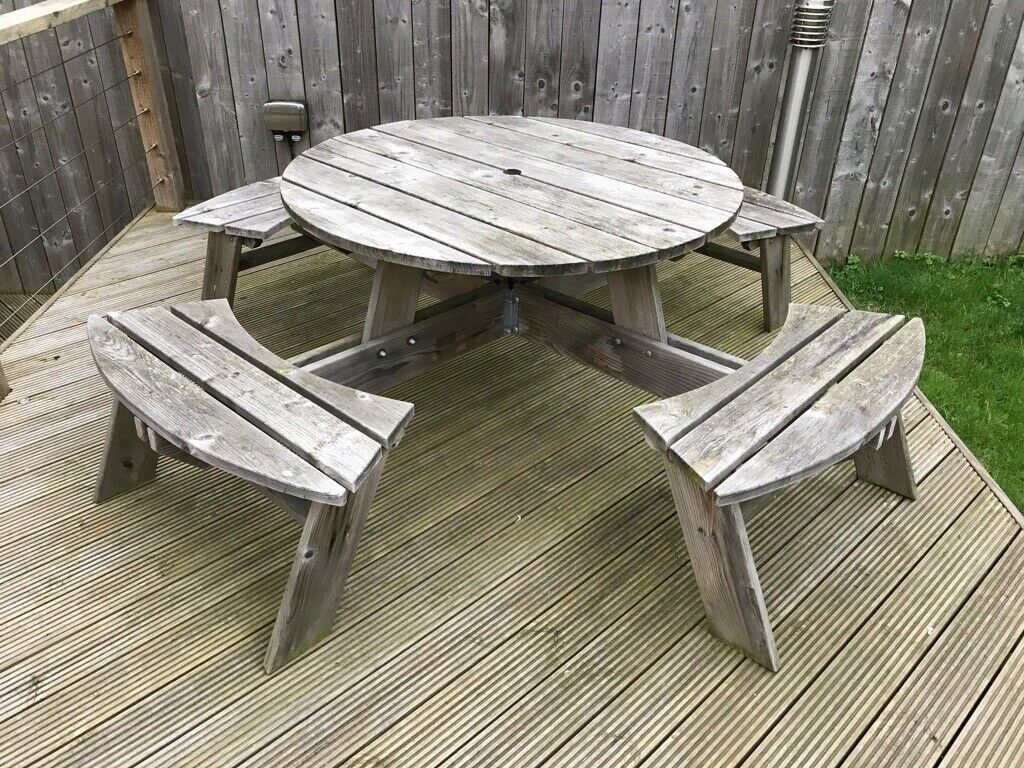 Magnificent Round 8 Seat Wooden Picnic Table In Sunderland Tyne And Wear Gumtree Pabps2019 Chair Design Images Pabps2019Com