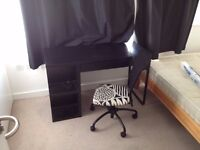 Desk, chair and mini chest of drawers.