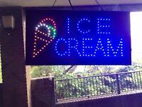 Ice-cream neon flashing sign