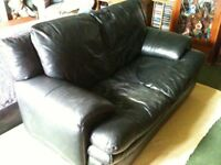 Black leather 2 seater sofa settee