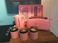 pink kettle toaster draining board and containers