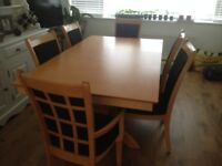 Dining table and 6 chairs, as new, beech wood,