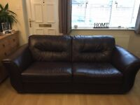 Great condition 2 x 3 seater brown leather sofas