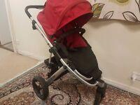 Britax 3 Wheeler Pushchair buggy in Black + Red