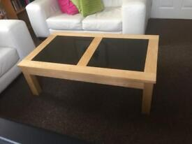 Coffee Table, solid wood inlaid with solid Granite