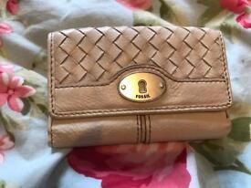 "Cream leather ""fossil"" purse"