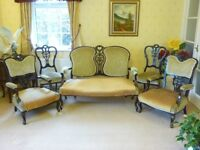 ANTIQUE (MID VICTORIAN ) SOFA AND CHAIRS, 7 PIECES.