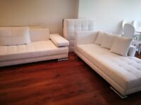 White leather sofa set suite & dining table with chairs x6