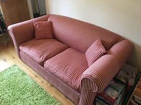 Sofa Bed - red/white stripes, VGC, £90ono