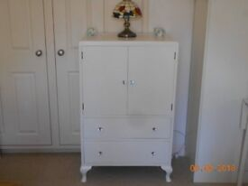TALLBOY CHEST OF TWO DRAWERS , AND TWO DOORS PAINTED COUNTRY WHITE