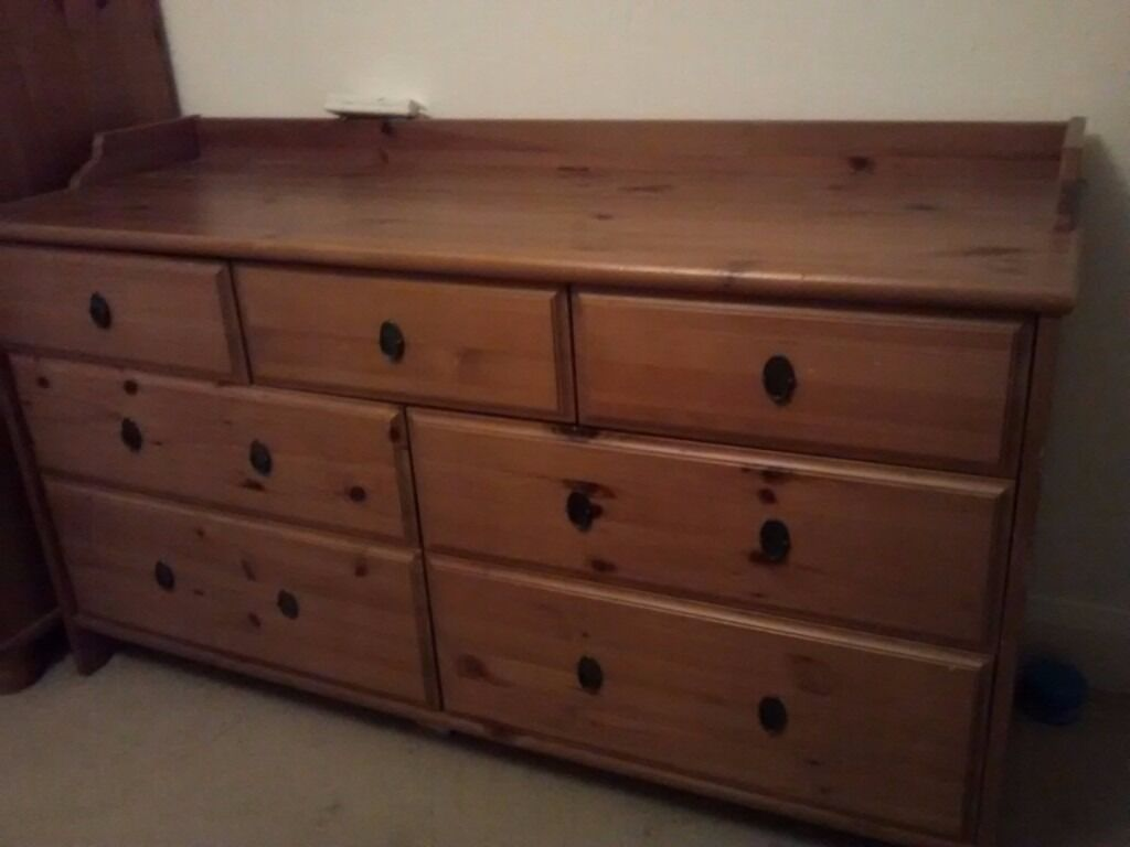 Ikea Leksvik Antique Pine 7 Drawer Chest Dresser