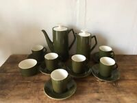 Vintage Art Deco Style 1973 Beswick coffee set 15 piece olive. Excellent condition.