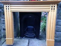 Cast iron Victorian fireplace and wood fire surround. Can be sold seperately
