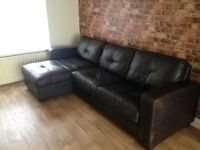 DFS NATURAL LEATHER SOFA BED & STORAGE UNIT