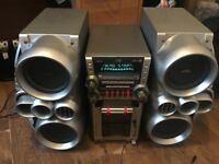 Retro JVC HiFi Midi system, bi-wired, speakers, side firing subs, powerful sound HX-GX7
