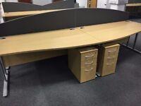 1.6 meter quality wave desks with pedstals