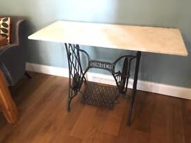Antique Singer Sewing Machine Table - cast iron table and marble top