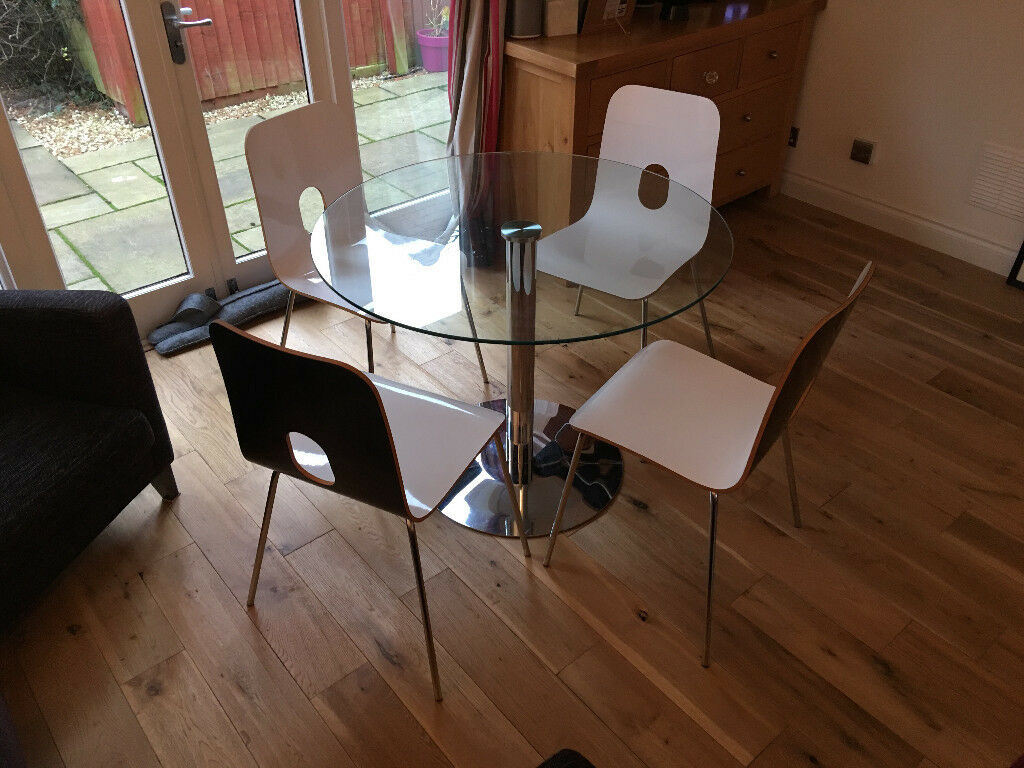 John Lewis Glass Top Dining Table & 4 White Blob Chairs