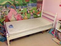 Single White & Pink Bedframe