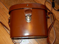 Vintage Binoculars 8 x 30. Leather case (red velvety lining) and strap, Cateye coated.