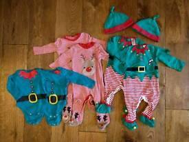 Twins Christmas clothes bundle 3-6 months
