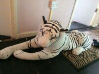 Large white tiger and mask