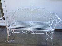 White chic metal garden bench