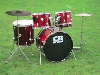 Drums - Complete Beginners Drum Kit - CB SP Series - Red Wine - All Set To Go