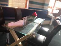 Brand new glass dining table with chairs