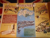 Vintage 1950's Educational Wall Poster Empire Information Project - Singapore