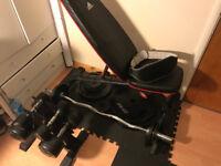 Gym Equipment, Bench, Barbell, Dumbells, Olympic Plates, Mat, Belt 350 O.N.O