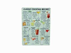 'Cocktail recipe' Metal sign (Set of 7)
