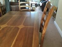 Solid Inlay Dinning Table and four Chairs