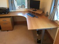 Oak Office Desk with pedestal and monitor stand