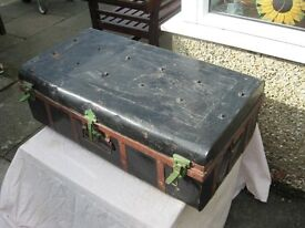 Vintage shabby chic steel travelling chest or trunk