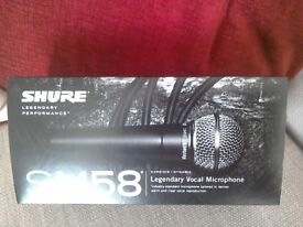 SHURE SM 58, MIC' & STAND, NEW, AND UNUSED.