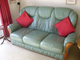 Green leather three seater sofa, chair and chair recliner