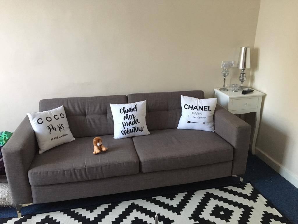 Grey modern 3 seater sofa chrome legs charcoal perth