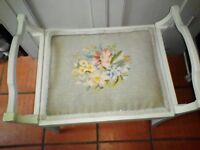 Vintage painted dressing table piano stool needlepoint tapestry seat lift up lid music storage