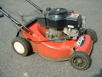 Efco Tecumseh hand propelled petrol powered rotary lawn mower.