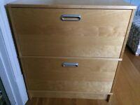 Two IKEA filing cabinets (one wide, one narrow) (beech veneer)