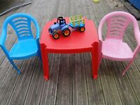 Kids colorful table and 2 chairs