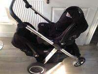 Oster Max Tandem Pram, two Joie Gemm car seats & accessories