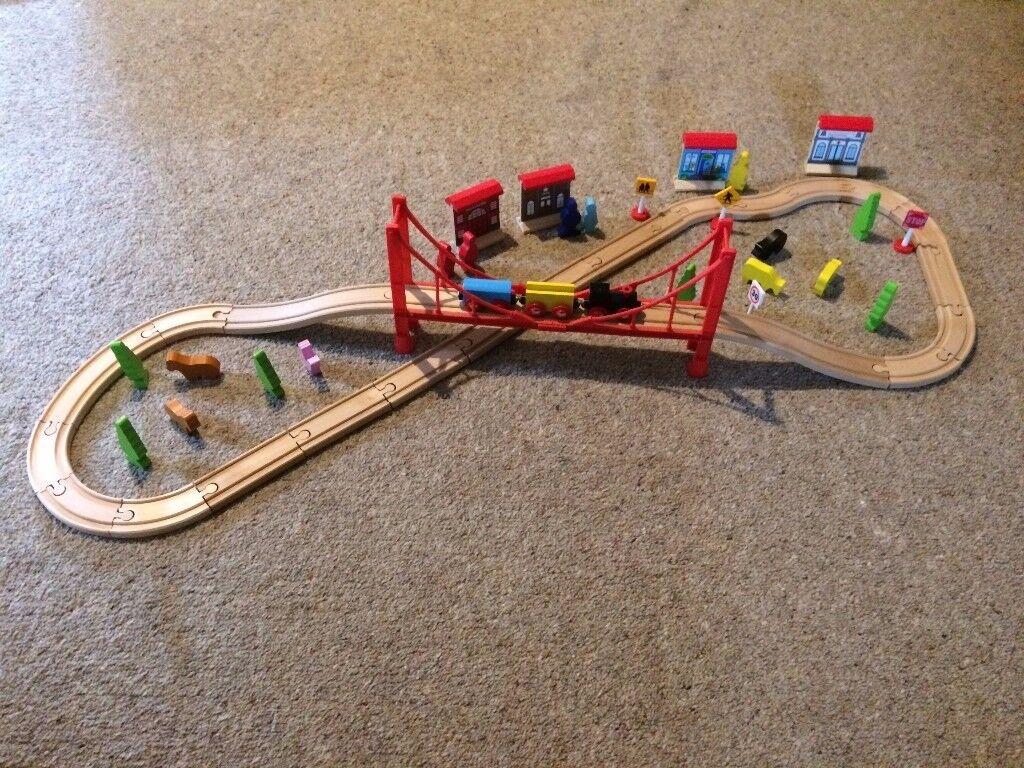 Carousel Multi Track 60 Piece Wooden Train Set.