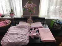 Pink popcorn crib set & music mobile