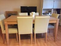 Beechwood Oak Dinning table with 6 chairs