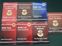 GCSE revision guides, practice, English, Eng Lit, Maths, Science, Food Tech. Photos show science.