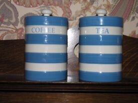 Traditional Blue And White Hooped Tea And Coffee Containers